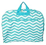 Fashionable Travel Garment Bags with Extended Hanger - Custom Embroidery Available (Aqua Chevron)