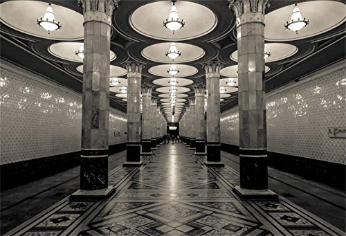Laeacco 7x5ft Underground Palace Interior Colonnade Vinyl Photography Background Bright Lamps Pillars Glittering Wall Geometric Pattern Tile Floor Backdrop Historical Building Holiday Maker Shoot