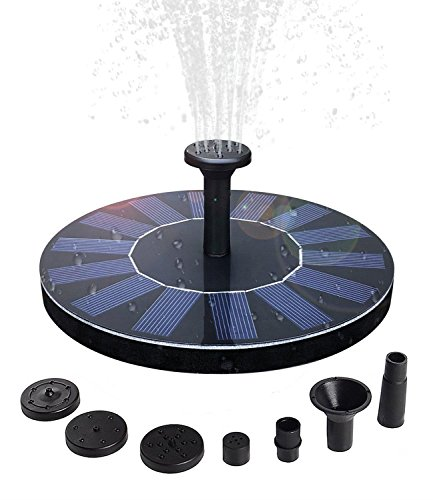 QueenA Solar Fountain Pump,Solar Powered Birdbath Fountain,1.4w Portable Solar Powered Bird Bath Fountain Submersible Free Standing Outdoor Fountain for Pond/Pool/Patio Garden by QueenA