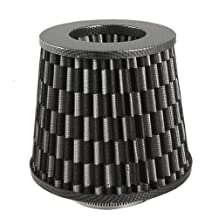 "3"" Universal High Flow Carbon Fiber Dry Cone Air Intake Filter Black"