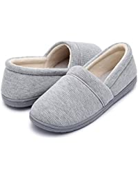 Women's Velvet Memory Foam Closed Back Slippers Lightweight Anti-Slid Embroidery Ballerina House/Office Shoes