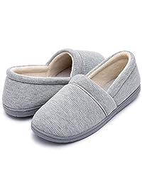 ULTRAIDEAS Women's Velvet Memory Foam Closed Back Slippers Lightweight Anti-Slid Ballerina House/Office Shoes