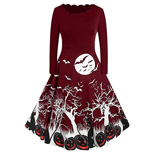 Aniywn Women Vintage Long Sleeve Swing Dress Halloween Housewife Evening Party Prom Printing Mini Dress Red