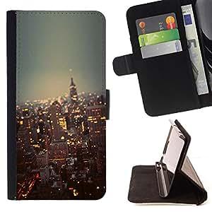 - city New York skyline buildings NYC - - Prima caja de la PU billetera de cuero con ranuras para tarjetas, efectivo desmontable correa para l Funny HouseFOR Apple Iphone 6 PLUS 5.5