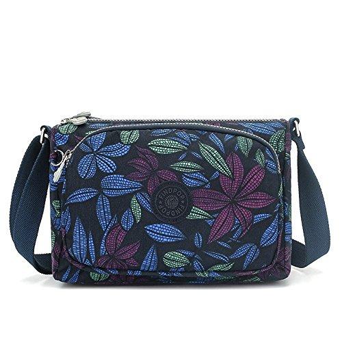 Lady bags Bolsa de Lona para Mujer con Estampado Cruzado, Bolsa de Hombro de Nailon Impermeable para Mujer, Tamaño Pequeño, 28 x 19 x 14 cm, Fondo Negro, Colorida Orquídea