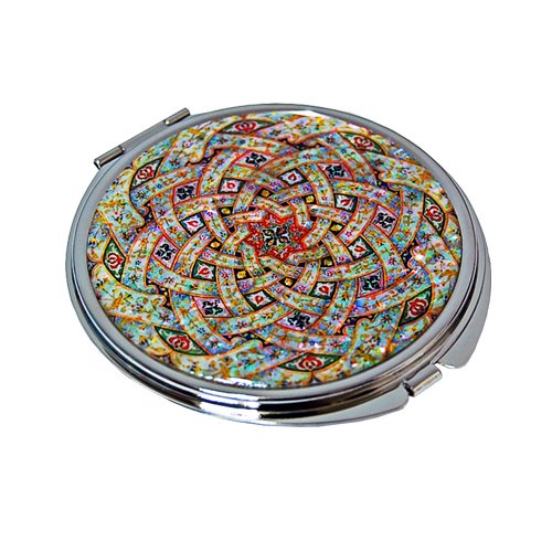 Mother Of Pearl Arabesque Design Double Compact Cosmetic Makeup Magnifying Purse Pocket Handbag Mirror