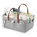 GAGAKU Baby Diaper Caddy Tote Extra Large Portable Nappy Basket Organizer Diaper Storage Bin for Car Travel - Grey