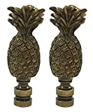 Royal Designs Trendy Resort Pineapple Lamp Finial for Lamp Shade- Antique Brass Set of 2