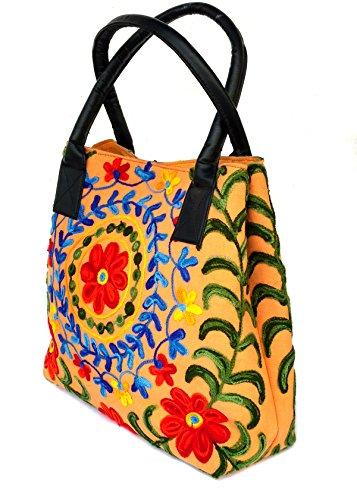 Rastogi Handicrafts - Bolso al hombro de Lona para mujer Amarillo DARK -YELLOW