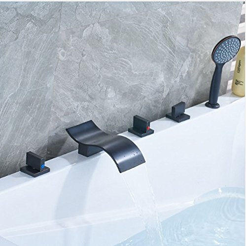 Gowe Brass Widespread Waterfall Spout with Plastic Handshower Bathroom Faucet ()
