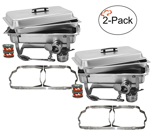 TigerChef 8 Quart Full Size Stainless Steel Chafer with Folding Frame and Cool-Touch Plastic on top - includes 2 Free Chafing Gels and Slotted Serving Spoon (2, 8 Quart Chafer) (Buffet Server Stainless Steel Top)
