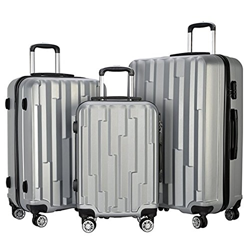 3 Pieces Lightweight Wheel Spinner Luggage Sets Hardside Suitcase ABS School Rolling Trolley with Lock (Lightweight Womens Luggage Set)