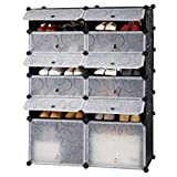 Diy Cabinets LANGRIA 12-Cube Organizer DIY Shoe Rack, Multi Use Bedroom Shoes Cabinet, Modular Organizer Storage Plastic Cabinet with Doors, 10 Cubbies and 2 Big Cubes, Black and White Curly Pattern