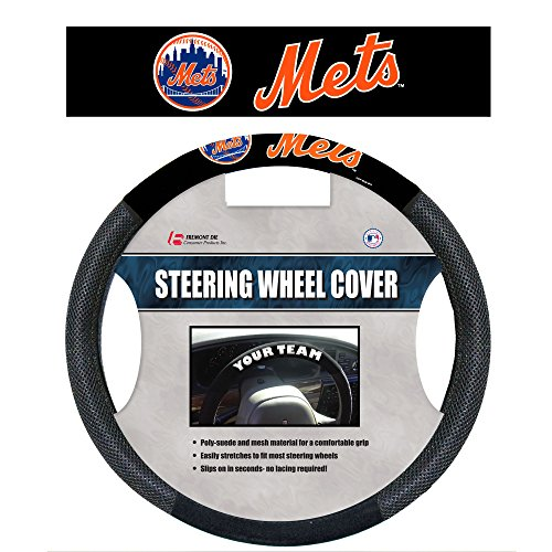 - Fremont Die MLB New York Mets Poly Suede Steering Wheel Cover, One Size, Black