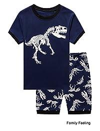 Family Feeling Little Boys Dinosaur Shorts Set Pajamas 100% Cotton