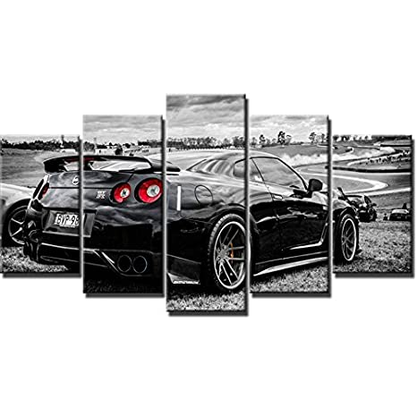 Modern Art Frame HD Printed Wall Canvas Pictures 5 Panel Nissan GTR Home Decoration Car Living Room Paintings Modular Posters,Size 1,with Framed WNIUN ART