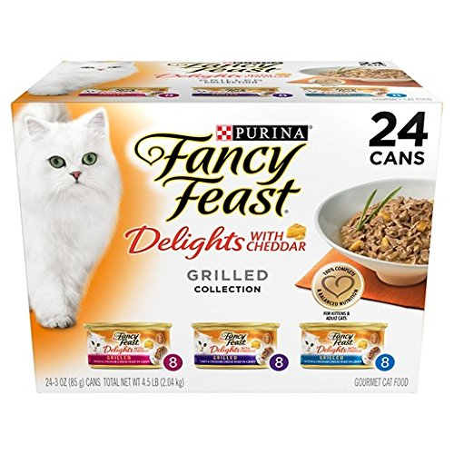 Purina Fancy Feast Delights with Cheddar Grilled Gourmet Wet Cat Food - (24) 3 oz. Cans (Cheddar Grilled Varieties 1 Pack of 24) Turkey Cheddar