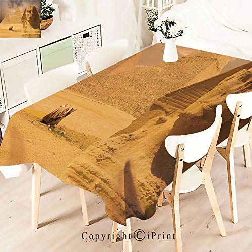 Modern Decor Tablecloth, Great Sphinx Face with Other Pyramids,Graphic Fusion Artwork, Dining Room Kitchen Rectangular Table Cover,W55 xL71,Cream