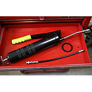 "Oxean Professional Heavy Duty Pistol Grip Aluminum Grease Gun, 14 Oz up to 4500psi, Includes both 14"" Flex Hose & 6"" Rigid Extension"