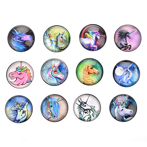 Souarts 12pcs Horse Glass Snaps Charm Snap Buttons for Interchangeable Ginger 18mm Snaps Jewelry DIY Bracelet Craft Accessories ()