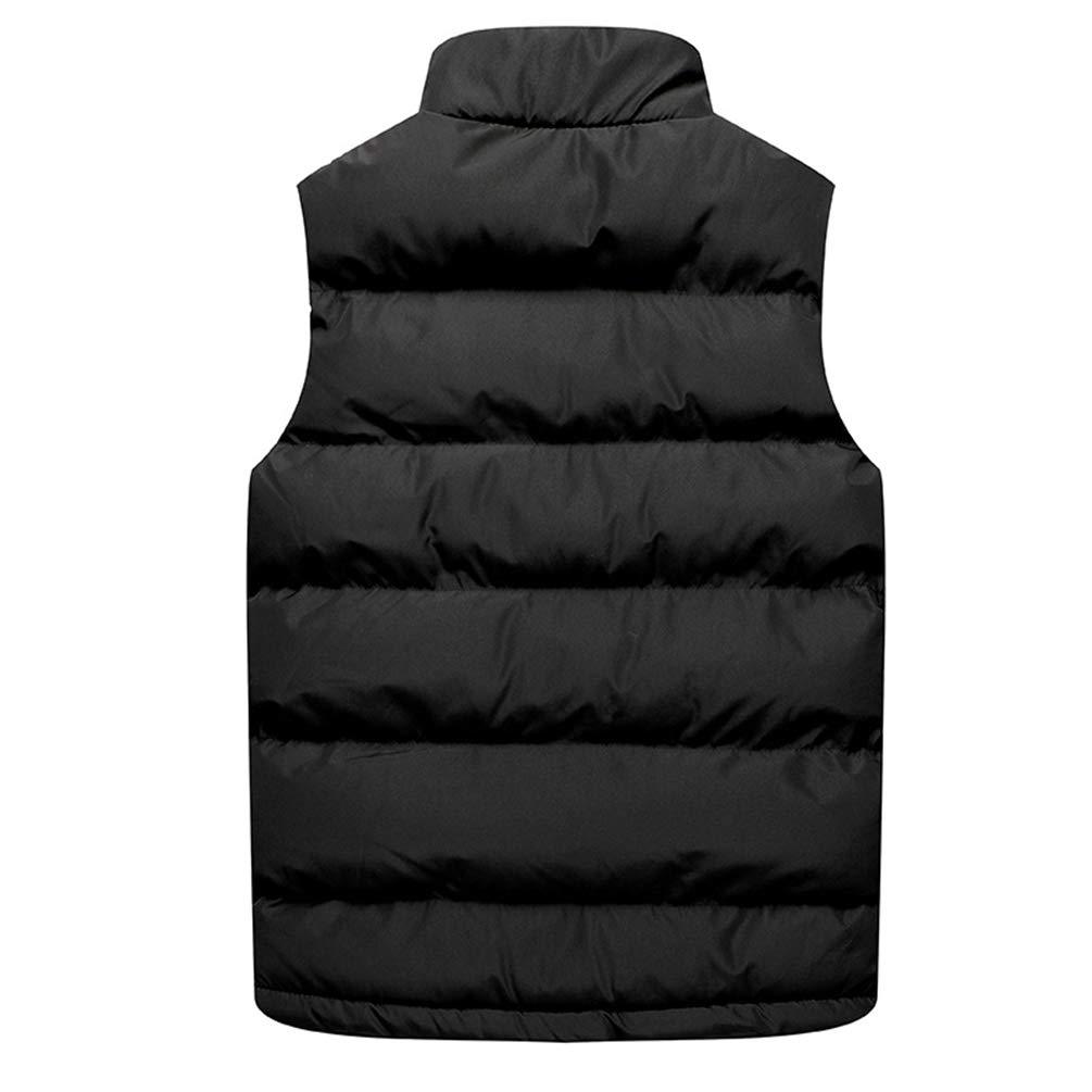 Kuncg Homme Loisirs sans Manches Légère Gilet d'hiver de Sport Chaud Blouson Veste Noir
