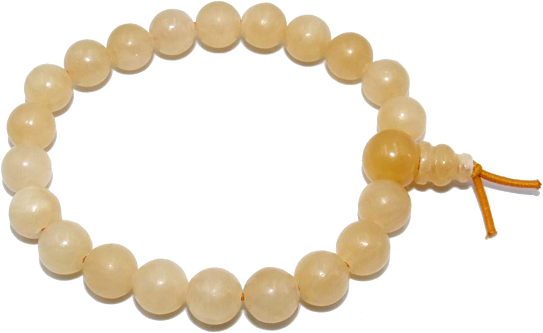 Pulsera en Calcita Amarilla Natural Piedras + caja de regalo, Redondas de 8 mm para Hombres y Mujeres - elástico Resistente - Mala Budista Tibetano