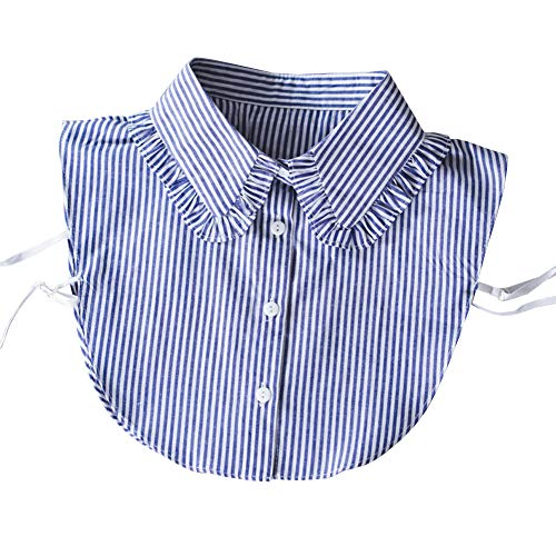 Shinywear Cute Doll False Shirt Collar Detachable Half Blouse Lace Adjustable Lapel Dicky for Women (Blue and White Striped) (Korean Style Standing Collar)