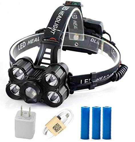 (1 Pack 12000 Lumen 30W 4 Mode T6 LEDs Headlamps Ultra Xtreme Waterproof Headlights Convincing Fashionable High Lumens Bright Light Hiking Running Hunting Camping Tactical Flashlight, Type-01)