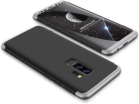 FHXD Compatible con Funda Samsung Galaxy S9 Plus Anti-Shock 360° Carcasa Case Cover Protectora [Protector de Pantalla] Ultra Thin Anti-Scratch 3 in 1 Caso Cáscara Protectora-Plata Negro: Amazon.es: Electrónica