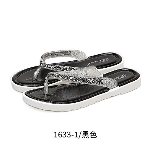 resort beach summer field beach women's the 39 people and with feet slippers slip outside slippers non a shoes fankou base Modern Black students clip flat RxW8Yn8z