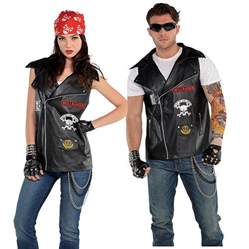 Amscan 847422 Biker Vest - Adult Standard, Black, One Size ()
