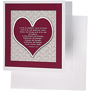3dRose Red Heart and Bible Verse 6 x 6 Inches Greeting Cards, Set of 12 (gc_178769_2)