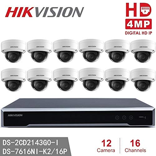 Hikvision CCTV System NVR & 4MP IP Camera Kits DS-2CD2143G0-I 4MP IR Fixed Dome IP Camera + DS-7616NI-K2/16P 4K NVR POE H.265, 2SATA and 16 POE Replace DS-2CD2142FWD-I (16Channel + 12Camera) - Dual Ir Dome Kit