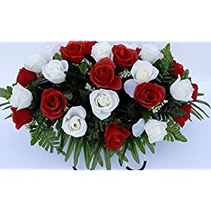 Cemetery Saddle Headstone Decoration with Red and White Roses for Thanksgiving, Christmas and New Year's 36