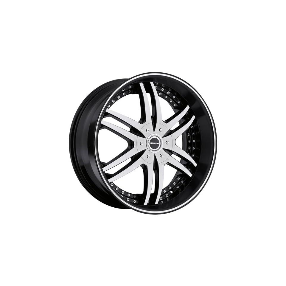 Strada Denaro 22 Machined Black Wheel / Rim 5x4.75 & 5x5 with a 18mm Offset and a 78.1 Hub Bore. Partnumber S12250618BM