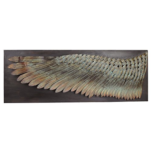 Design Toscano Feather Wing of Icarus Wall Sculpture, 36 Inch, Metalware, Bronze Finish