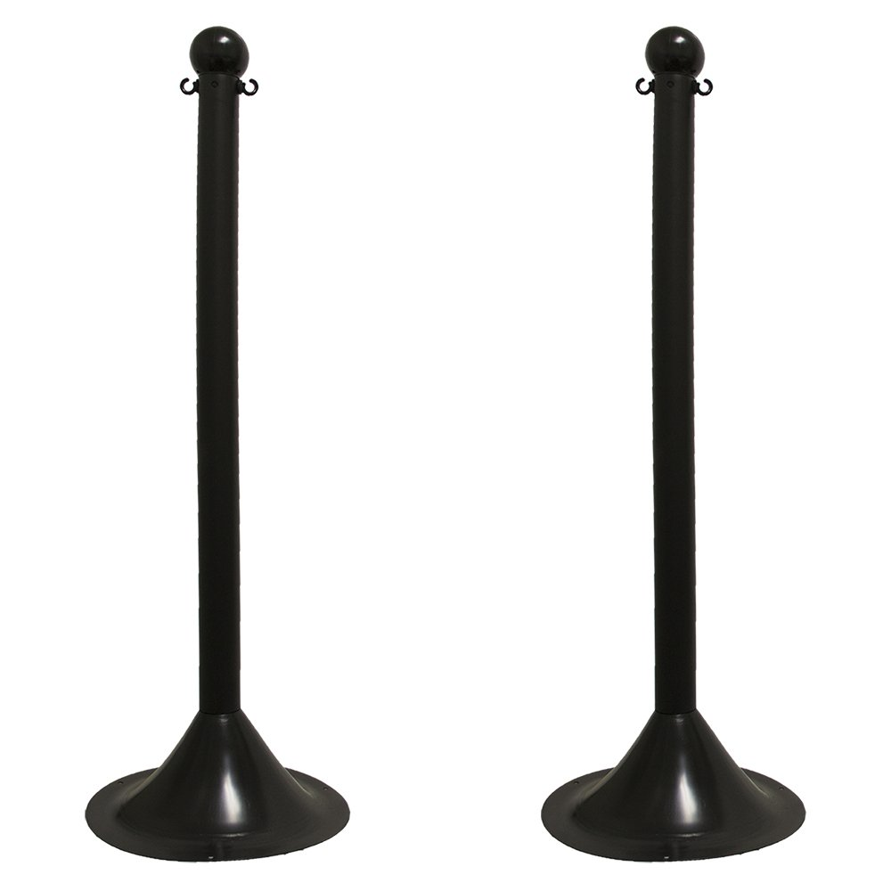 Mr. Chain 91503-2 2'' Black Stanchion, 41'' Overall Height (Pack of 2)