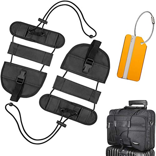 3836835e61f7 FXICAI Bag Bungee Luggage Straps Adjustable Travel Suitcase Belt Tags Label  Accessories (Black-Set of 3)