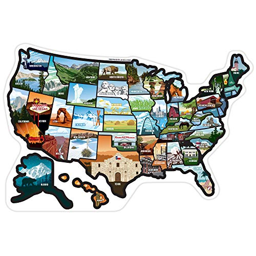 SEE MANY PLACES .com RV State Stickers United States Travel Camper Map RV Decals for Window, Door, or Wall ~ Includes 50 State Decal Stickers with Scenic Illustrations