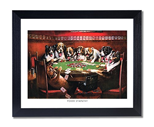 Solid Wood Black Framed Coolidge Dogs Playing Poker At Table Poker Sympathy #3 Animal Pictures Art Print by Art Prints Inc