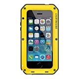 iphone 5 bumper aluminum - iPhone 5S/SE/5 Case LIGHTDESIRE [Newest] Aluminum Alloy Protective Metal Extreme Water Resistant Shockproof Military Bumper Heavy Duty Cover Shell Case [Yellow] for iPhone 5S/SE/5