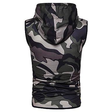 2b23f1484 Gym Hoodie Men Bodybuilding Stringer Tank Top Camouflage Sleeveless Shirt  Full Zipper (XXXL, Army