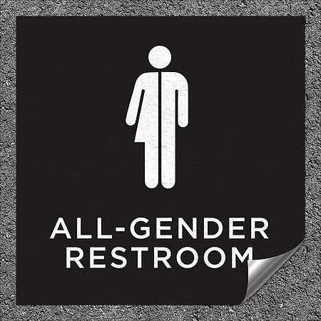 CGSignLab |''All-Gender Restroom Sign in Black and White'' Heavy-Duty Industrial Self-Adhesive Aluminum Wall Decal (5-Pack) | 16''x16''