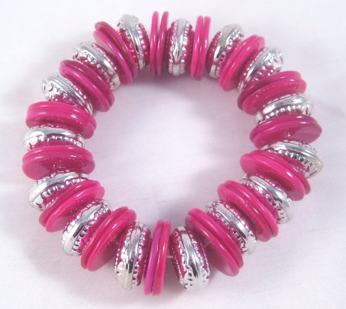 - jcp Fabulous New Thick Pink Shell Disc & Silver Rondelle Stretch Bracelet