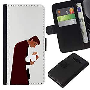 Be-Star la tarjeta de Crédito Slots PU Funda de cuero Monedero caso cubierta de piel Samsung Galaxy Core Prime ( Man Baby Father Child Family Love Art )