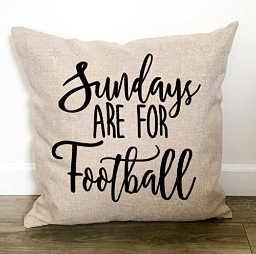 Amazon Com Susie85electra Sundays Are For Football Throw Pillow Cover Football Mom Football Decor Football Decorations Fall Decorative Pillows Home Kitchen