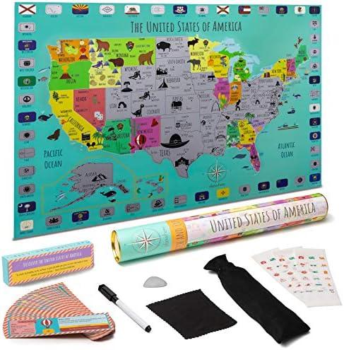 [해외]아동용 USA 스크래치 오프 맵 포스터 디자인 - 아이들을 위한 디자인! aœ\u201d 내구성 있는 플라스틱 디자인 국립 공원 깃발 aœ\u201d 교육용 랜드마크 카드 스티커 포일 픽 aœ\u201d 쓰기 가능한 표면 마커 aœ\u201d 선물용 포장 / STEM Geo-Literacy USA Scra...