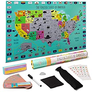 STEM Geo-Literacy USA Homeschool Toy for Kids  Fun way to teach from home!   National Parks, Flags   64 Landmarks & Learning Cards, Stickers  Writable Surface, Marker   Gift-Ready Packaging