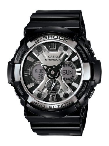 Casio Men's XL Series G-Shock Quartz 200M WR Shock Resistant Resin Color: Glossy Black and Chrome Face (Model GA-200BW-1ACR) ()