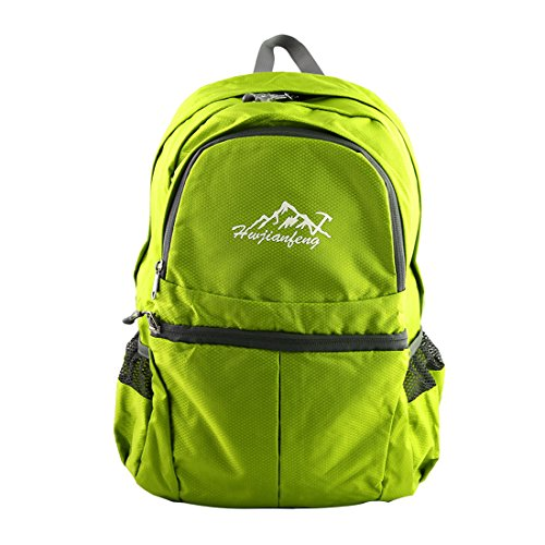 "sourcing map Mochila Plegable Bolsa De Viaje 20L Autorizado Hwjianfeng Deportes Senderismo Folded Size: 20 x 20 x 6.5cm/8"" x 8"" x 2.6""(L*W*T) Verde Fluorescente"